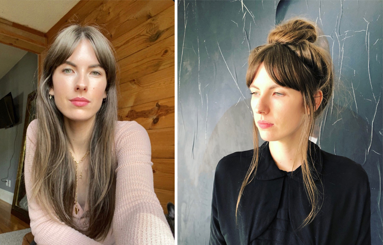 Curtain bangs and French long layers by Jen Hughes